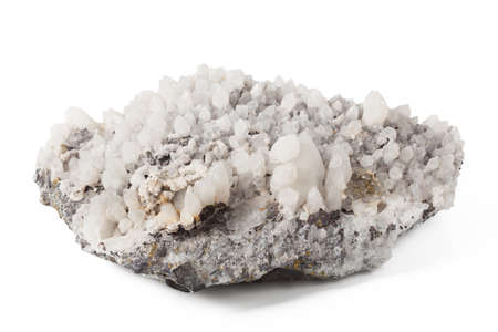 dolomite: White crystal dolomite close up on isolated background
