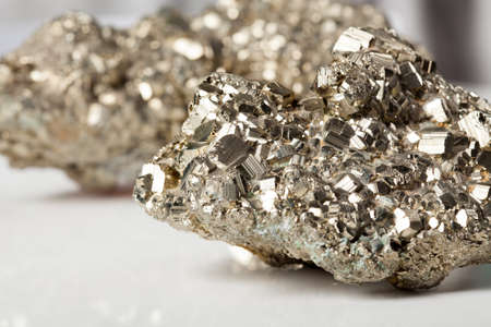 sulfide: Beautiful shiny silver and golden pyrite close-up Stock Photo
