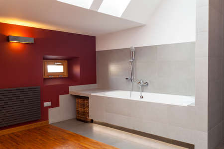 Interior of a designed and modern bathroom photo