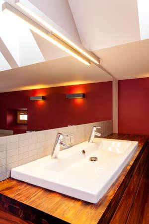White double sink in modern bathroom, vertical photo