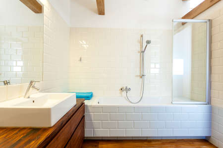 Horizontal view of modern and designed bathroom photo