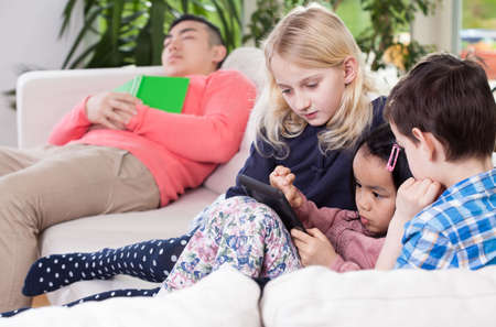 sleeping tablets: Diversity family during their free time, horizontal