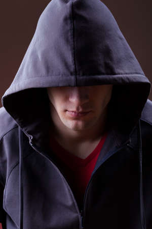 hooded top: A mysterious man wearing a hooded jumper