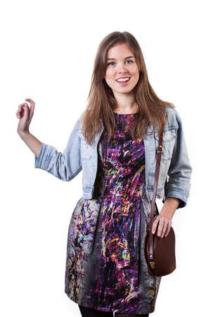 Portrait of a girl wearing colorful dress and denim jacket photo