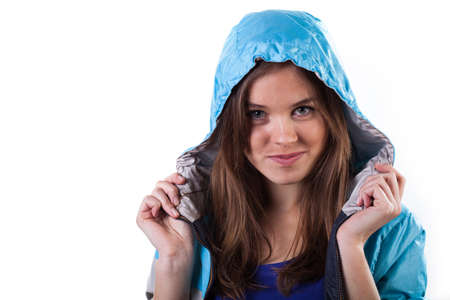 Charming girl wearing jacket with hood on, horizontal