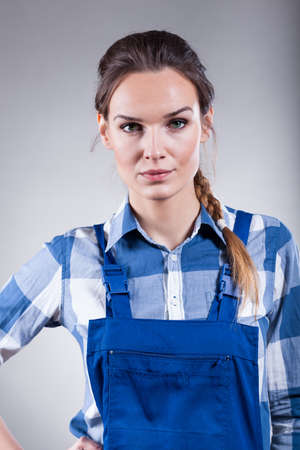 handywoman: Handywoman ready to work on isolated background