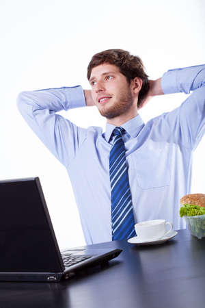 Young businessman resting and dreaming during his break Stock Photo - 28714384