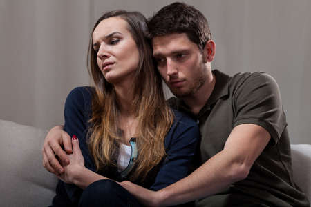 Horizontal view of couple problems during psychotherapy photo