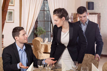 business dinner: Start of the meeting in a restaurant Stock Photo