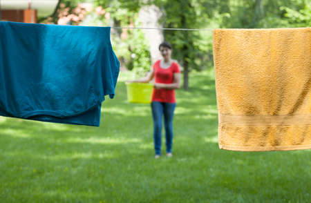 Horizontal view of drying laundry in a garden photo