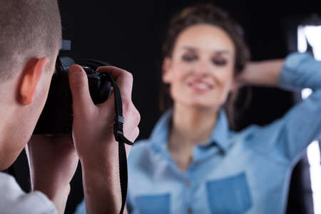 photo shooting: Close-up of a taking professional photo, horizontal Stock Photo