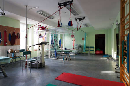 therapy room: Room with rehabilitation equipment at hospital, horizontal
