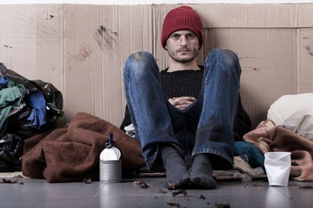 Homeless young man living on the street Stock Photo - 29780029