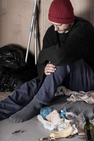 misery: Disabled and poor man living on the street