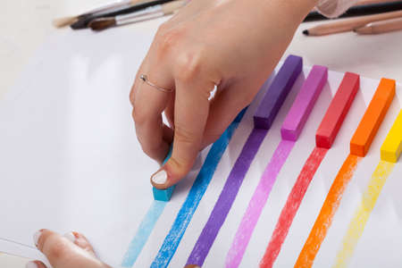painted lines: Colored lines painted pastel on white paper Stock Photo