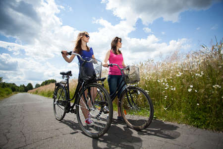 free riding: Horizontal view of bicycle trip during sunny day
