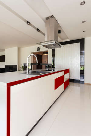 Interior of light, modern and stylish kitchen photo