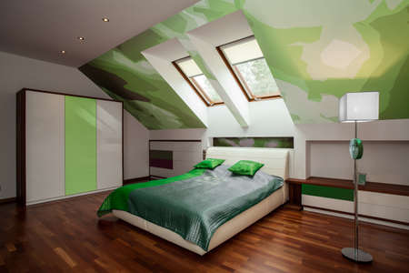 Interior of stylish white and green bedroom photo
