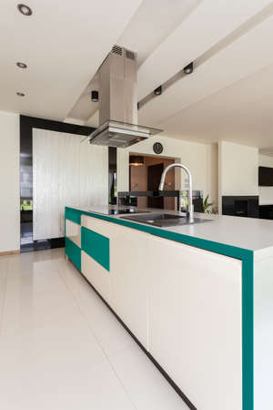 Vertical view of modern and open kitchen photo