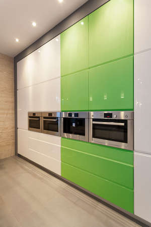 Interior of white and green modern kitchen photo