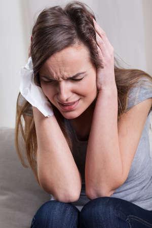 depress: Young depress desperate woman on psychiatrist visit