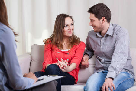Beauty couple solved their problems on psychotherapy Stock Photo