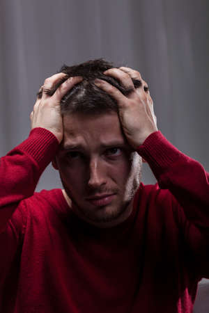 Desperate crazy man can't handle his problems  Stock Photo - 30024004