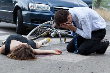 dissociation: Horizontal view of driver who killed female biker