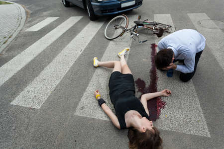 accident dead: Woman killed by car on the street