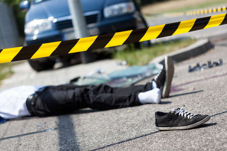 dissociation: Male victim of a car accident, horizontal Stock Photo