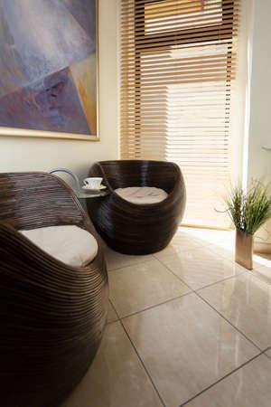 vertical wellness: Interior of modern waiting room in spa