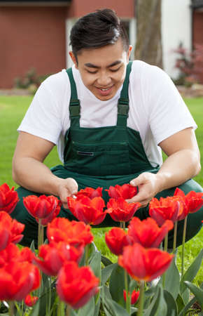 asian tulips: Portrait of young smiley gardener with tulips Stock Photo