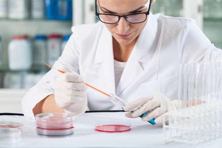 microbiologia: Científico durante el trabajo en un laboratorio, horizontal