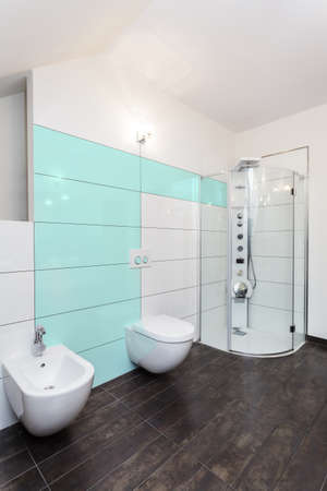 View of bright bathroom with dark floor photo