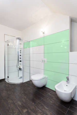 Interior of bright bathroom with green elements photo