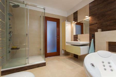 bathroom equipment: Horizontal view of interior of modern bathroom