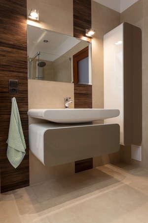 bathroom equipment: Porcelain sink in a modern bathroom, vertical
