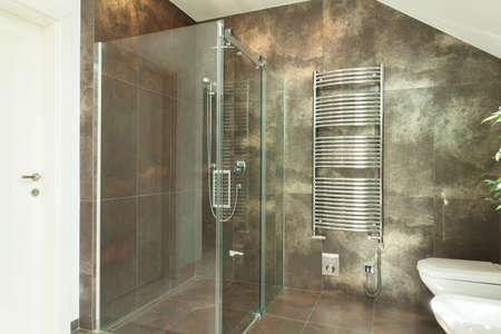 豪華なバスルームのインテリアの水平方向のビュー