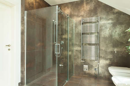 Horizontal view of interior of luxurious bathroom