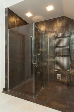 golden shower: View of luxurious shower in the bathroom
