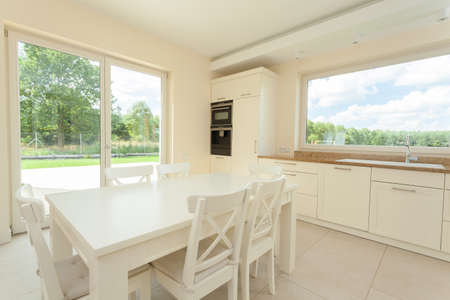 eating area: Eating area in bright, modern kitchen, horizontal