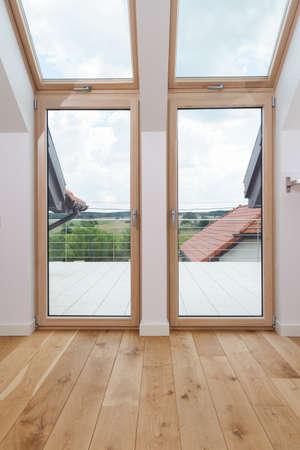 big windows: View of bright room with big windows
