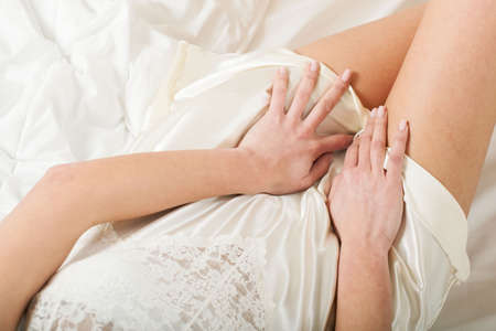 undressed young: Sexy lady in bed in the morning
