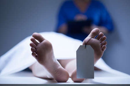 life and death: Horizontal view of identification of dead body