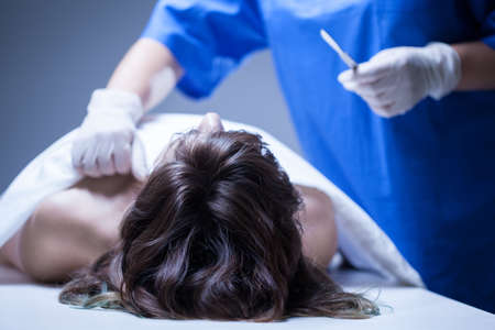 hospital: Closeup of dead woman lying in mortuary