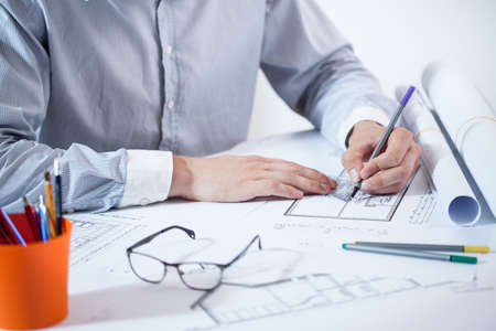 Horizontal view of close-up of working architect