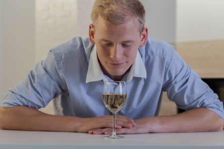 Horizontal view of businessman shouldnt drink alcohol Stock Photo