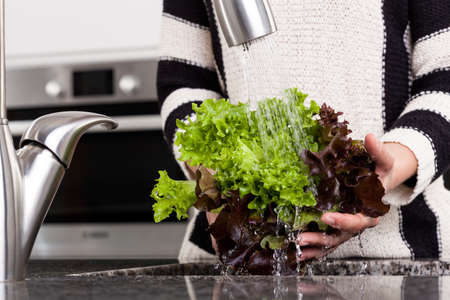 Woman rinsing lettuce to prepare healthy dish photo