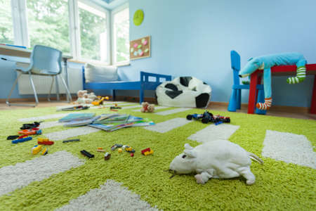 Horizontal view of mess in kids room