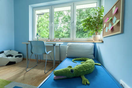 Little boy room from the inside, horizontal photo